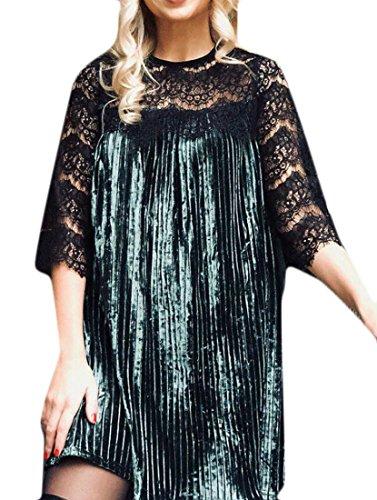 Dress Velvet Women BLTR Green 3 Mini Size Plus Lace Pleated Sleeve 4 vOwdECxw