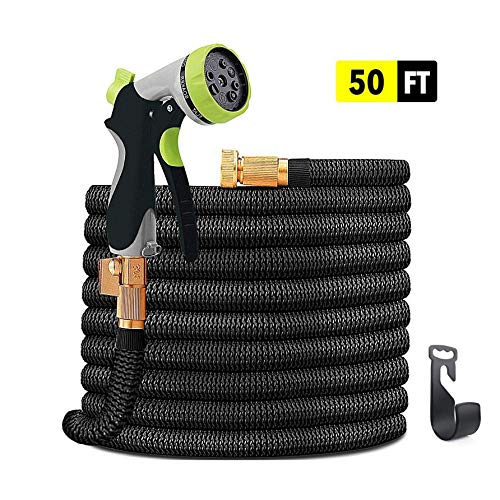 INNOLI Garden Hose 50FT Lightweight Durable Flexible Water Hose with High Pressure Water Spray Nozzle Expanding Hoses and 3/4 Nozzle Solid Brass Connector