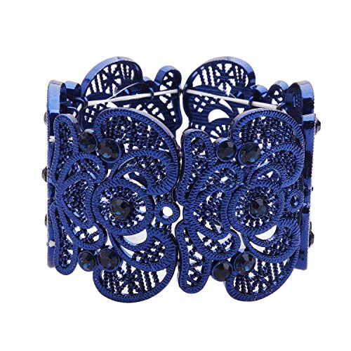 (D EXCEED Womens Bohemian Lace Bracelet Vintage Filigree Cuff Bangle Bracelet Wide Stretch Rhinestone Bracelets for Ladies Royal Blue)