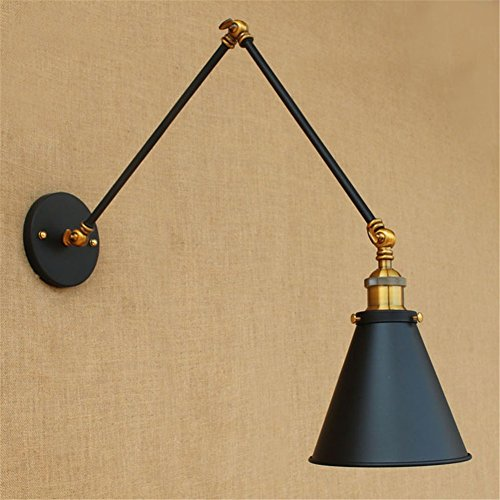 Twin Arm Sconce - Fuloon Vintage Retro Countryside Golden Wall Lamp Long Arm Pole Swing Arm Wall Mount Light Sconces (bulbs not included) (Black)