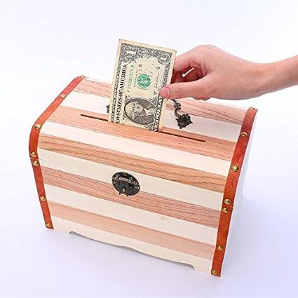 Dinero en efectivo cajas, Vintage de madera caja de dinero – Hucha con cerradura caja de moneda alcancia Kids cumpleaños regalos Christma: Amazon.es: Oficina y papelería