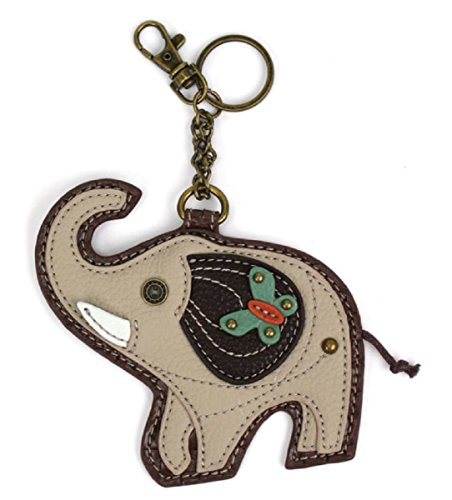 Elephant Key - Chala Coin Purse / Key Fob (Grey Elephant)