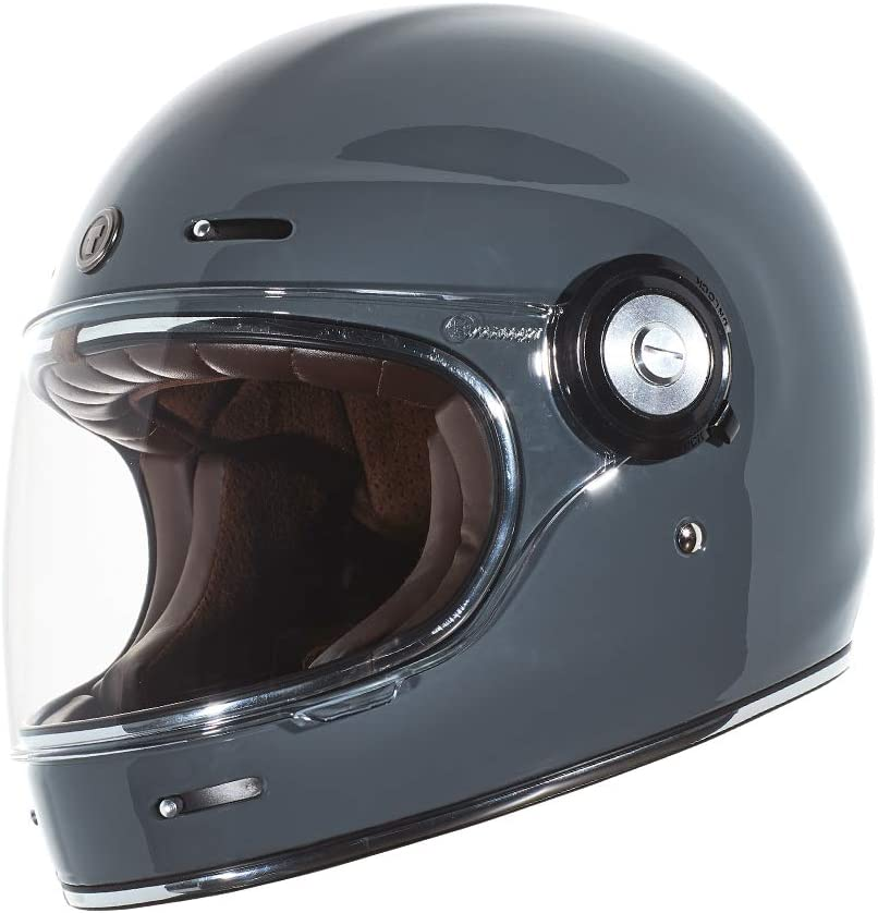 TORC Unisex-Adult T3 Retro Classic Full-Face Motorcycle Helmet Gloss Nardo Grey, X-Large