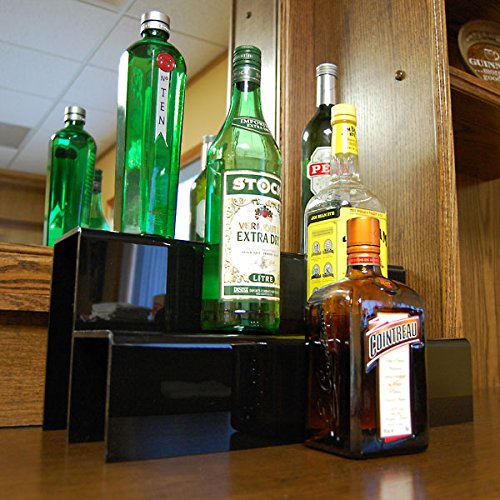 - KegWorks 2 Tier Liquor Bottle Step Shelf - Black Acylic - 18 Inches Long