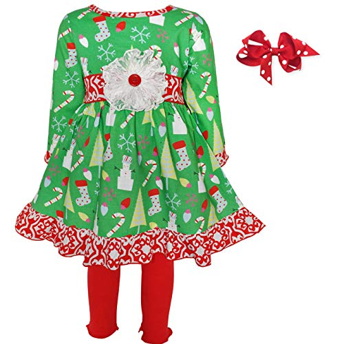 Monkin's Boutique Girl's Long Sleeve Dress with Leggings and Hair Bow Outfit (2-3T, Green Christmas)