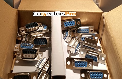Pc Accessories - Connectors Pro 10 Pairs DB9 Male and Female D-Sub Solder Type Connector, 20-Pack (10 Male + 10 Female)