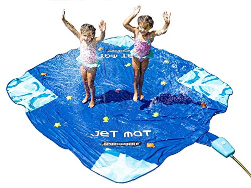 Sportspower Jet Mat- Outdoor 10' x 10' Water Sprinkler Splash Mat with Waterpark Jumping Jet Fountain Control System