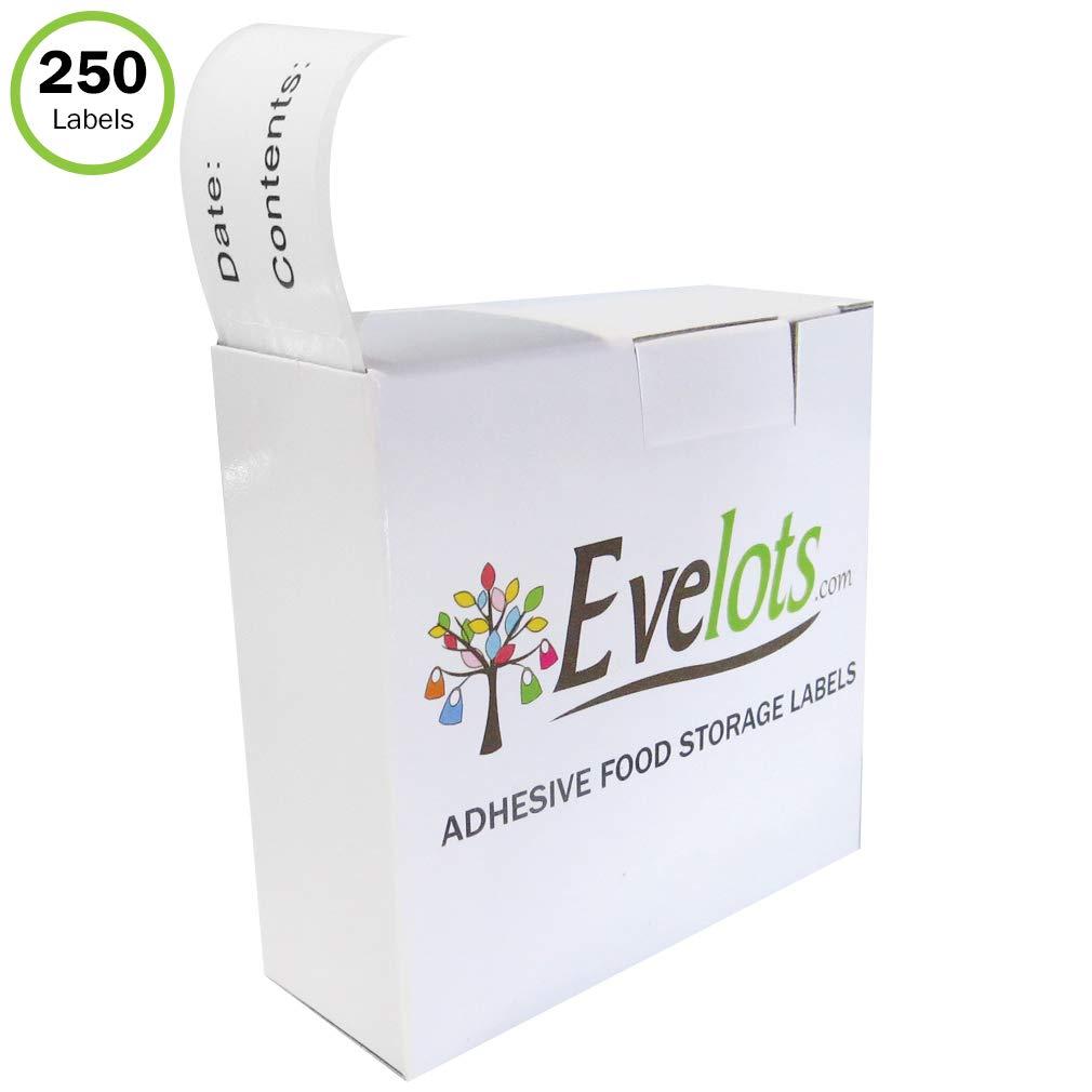 Evelots Food Labels-Stickers-Freezer-Refrigerator- Printed-Dispenser-250 Labels