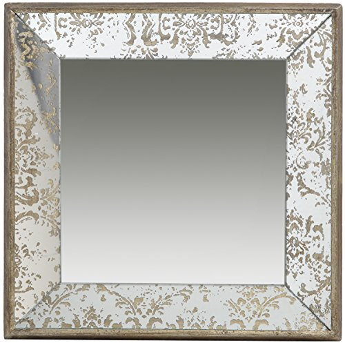 A&B Home 15.5 x 15.5 Antique Style Frameless Wall Mirror Tray, Silver Aged Gold ()