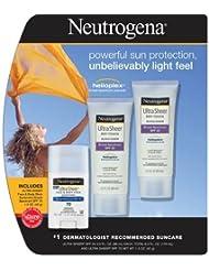 Neutrogena Ultra Sheer Dry-Touch Sunscreen, SPF 55, 3 Ounce 2PK + Ultra Sheer Face & Body Stick SPF 70 1PK ,Neutrogena- d7tg