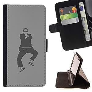 BullDog Case - FOR/Sony Xperia m55w Z3 Compact Mini / - / Gangnam Style Funny HK Dude /- Monedero de cuero de la PU Llevar cubierta de la caja con el ID Credit Card Slots Flip funda de cuer