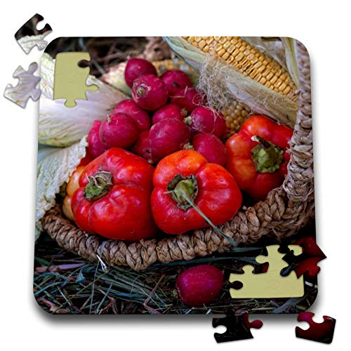 Radish Salad - 3dRose Alexis Photography - Still-Life - Red Bell Peppers, Radishes, White Salad in a Wicker Bowl on a hay - 10x10 Inch Puzzle (pzl_304793_2)