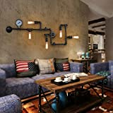 Vintage Steampunk Metal Water Pipe Loft Wall Lamp With 5 Lights Black with Copper Finish ( Color : Black )