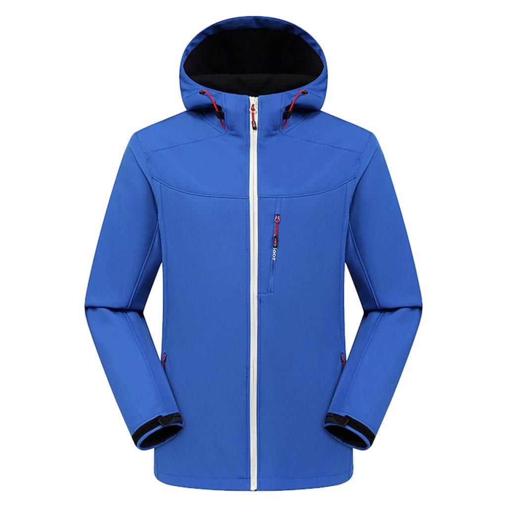 iLXHD Men Winter Hooded Softshell for Windproof and Waterproof Soft Coat Shell Jacket A1325 Blue by iLXHD