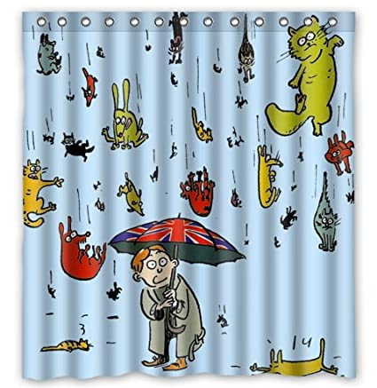Fashion Custom Raining Cats And Dogs Waterproof Polyester Fabric Shower Curtain 66quot