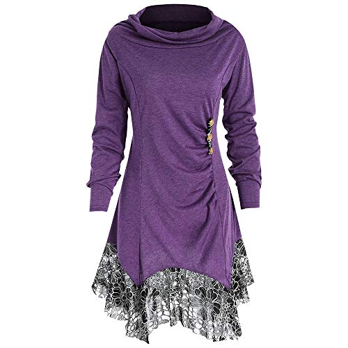 KCatsy Long Sleeve Cowl Neck Lace Stitching Tunic Tunics Top Flowy Casual Blouse T-Shirt