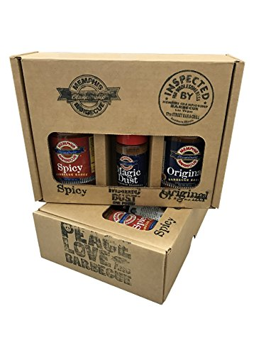 MCB by Mike Mills the Original Memphis Championship Barbecue 2-Sauce and Dry Rub Variety Flavors Set, 20 oz. Bottles and 3 oz. Magic Dust (Steak Sauce Gift Set)