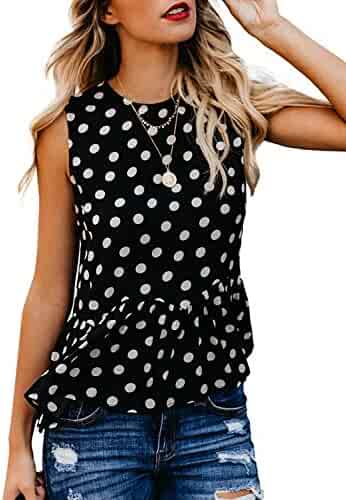 617b4e4fff BMJL Women's Cute Tops Ruffle Blouse Cami Tank Sleeveless Vest Polka Dot  Shirts