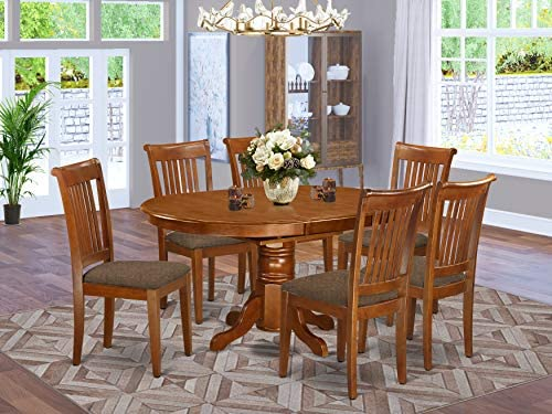 East-West Furniture AVPO7-SBR-C dining table set