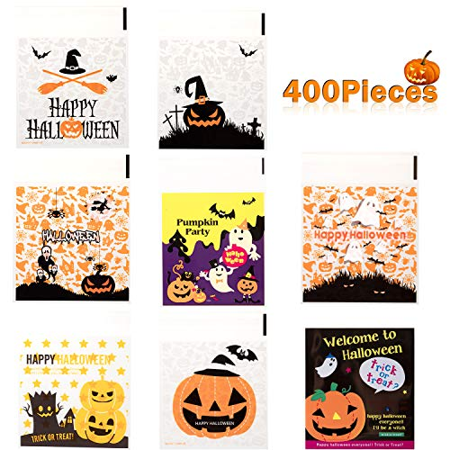 Homemade Halloween Snacks (Whaline 400Pcs Halloween Candy Bag, Self Adhesive Clear Cookie Treat Bags, Cellophane Plastic Gift Bags for Halloween Party Supplies, Homemade Craft, Snack Gift Packing (8)