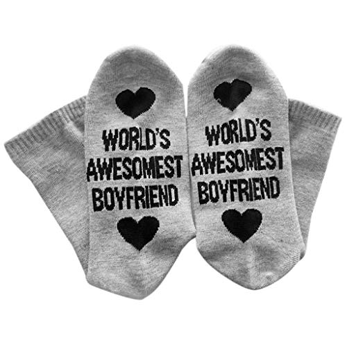 RingBuu Unisex Socks - Lovers Winter Ribbed Knitted Long Crew Socks Funny Humor Words Embroidered Boyfriend Girlfriend Cotton Hosiery Couples Valentines -