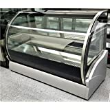 47.25 Stainless Steel Commercial Curved Glass Front Refrigerated Bakery Cake Deli Countertop Refrigerator Display Case Fridge Showcase, with 2 Sliding Doors, LED Lights and Adjustable Shelf
