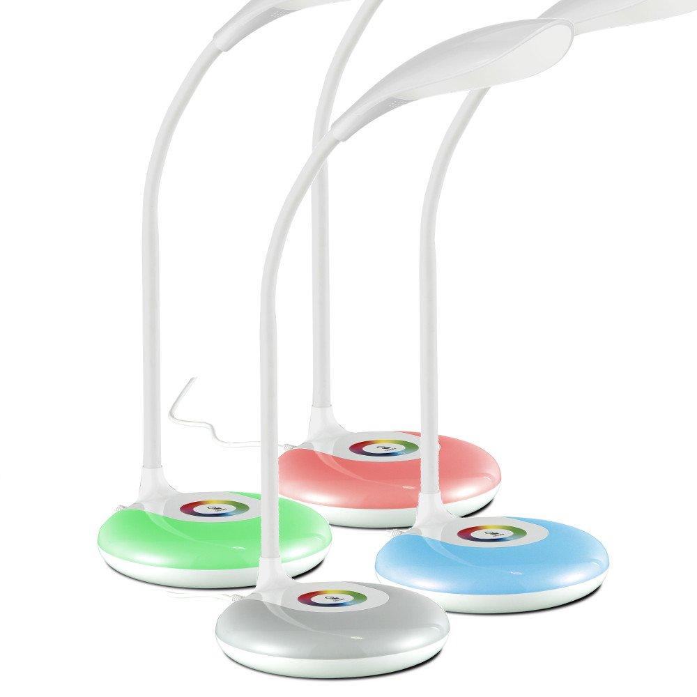 LED Schreibtischleuchte Touch Dimmer RGB Farbwechsel Schreibtischlampe (Nachttischleuchte, Nachttischlampe, Tischleuchte, Tischlampe, Leuchtmittel 1 x 4 Watt, EEK A+)