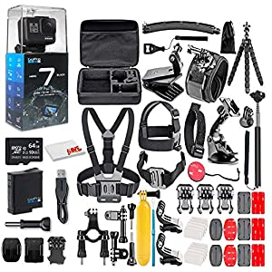 GoPro HERO7 Black – Waterproof Action Camera with Touch Screen, 4K HD Video, 12MP, Live Streaming and Stabilization – with 64GB Card and 50 Piece Accessory Kit – Ecommerce Packaging – Loaded Bundle