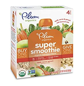 Plum Organics Super Smoothie, Apple, Carrot, & Spinach with Beans & Oats, 4 Ounce (Pack of 24)