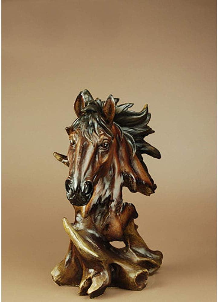 Onleus Toeak Busto De Caballo Escultura Estilo Europeo Vestíbulo Feng Shui Cabeza De Caballo Decoración Resina Creativa Adorno para El Hogar 27 Cm De Altura