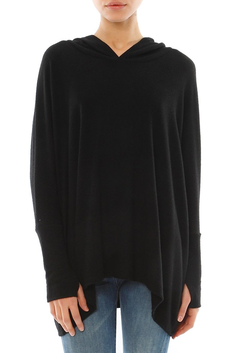 Michael Lauren Dash Oversized Pullover w/Hood (M/L, Jet Black)