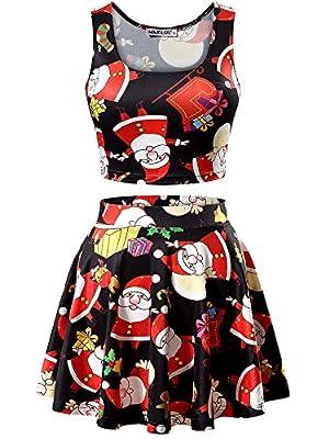 MSBASIC Christmas Crop Tank Top/Pleated Mini Skater Skirt Set Women
