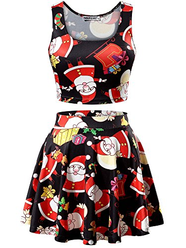 MSBASIC Women's Christmas Santa Claus Print Crop Top and Skirt Set Party Dress,Santa Claus,X-Large - Le Top Christmas