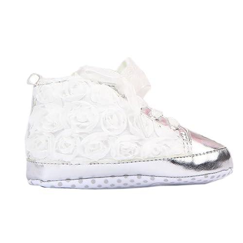 Baby Lederschuhe Blumen Silvercell Schuhe Flache Princess Kleinkinder IYbyf7v6g