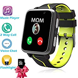 Kids Smart Watch Phone - MP3 Player Music Watch [1GB Micro SD Included] Kids Game Smartwatch 2 Way Call Alarm Clock Games Camera Wrist Watch for Boys Girls Toys Gifts (LBS Black)
