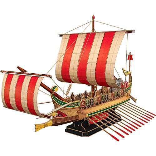 CubicFun 3D Puzzles Large Vessel War Ship Sailboat Model Kits for Adults and Teens Toys, Roman Warship, 218 Pieces (Remote Control Boat Model Kit)