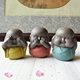 Set of 3 Monks Figurine Statue - Ceramic Wise Monks Hear No Evil See No Evil Speak No Evil Statue Wealth Lucky Figurine Car Home Desk Shelf Decor Collectible Art (2.7 inch 3 monks)