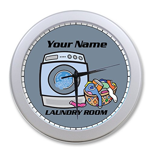CIS025 PERSONALIZED LAUNDRY ROOM WALL CLOCK DECOR GIFT CUSTOMIZE ANY TEXT FREE (SILVER FRAME) (Personalized Laundry)