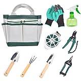 RAIN QUEEN 9 Piece Garden Tools Set, Garden Gloves, Garden Pruners, Garden Hand Tools with Storage Tote and More -Heavy Duty Gardening Kit for Women Men