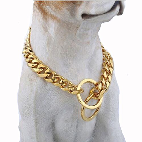 12-36inch 15mm Gold Tone Stainless Steel Flat Curb Cuban Link Dog Chain Collar (12