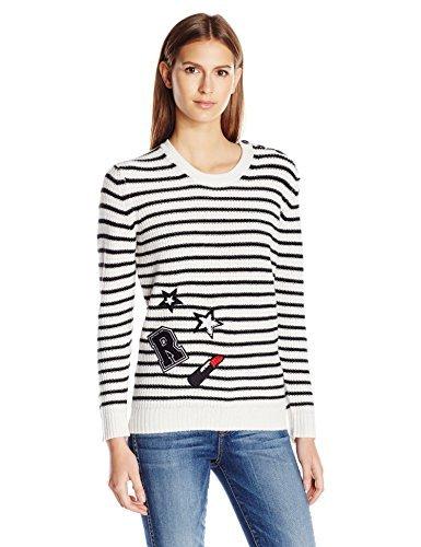 Rebecca Minkoff Women's Prim Stripe Sweater W/Patches, Chalk/Black, M