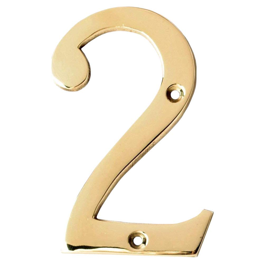 Number 1 Motif Collection Premium 4-Inch Polished Brass Finish House Door Number