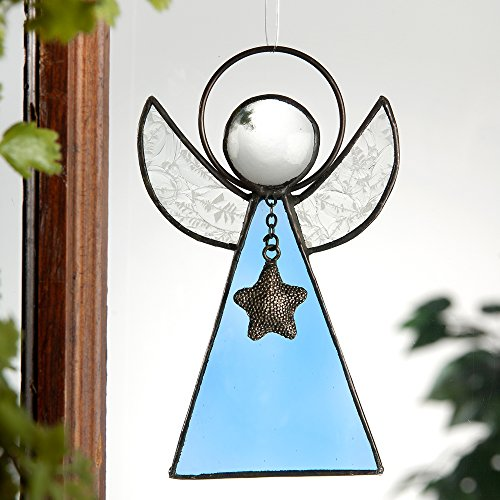 J Devlin Orn 215-3 Stained Glass Angel Ornament Window Suncatcher in Pale Blue Stained Glass Christmas Tree