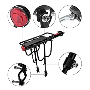 Flexzion Bike Rear Rack Mount - Bicycle Back Seat Pannier Luggage Backpack Cargo Basket Carrier Rack Adjustable Aluminum Alloy for Road MTB Mountain Folding Bike with Red Reflector 110lb Capacity