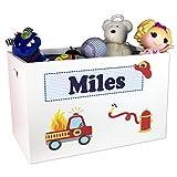MyBambino Boy's Personalized Fire Truck Toy Box