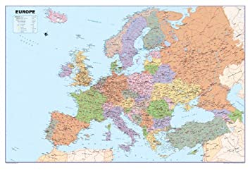 Map Of Uk In Europe.Europe Map A1 Size 59 4 X 84 1 Cm Gm Amazon Co Uk Office Products