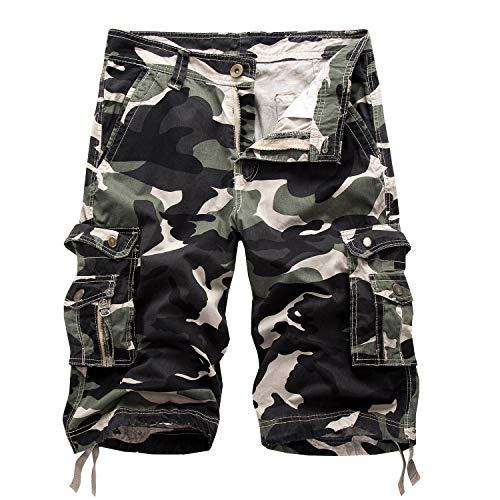 Osmyzcp Mens Cotton Relaxed Fit Camouflage Camo Cargo Shorts-Shallow army-34