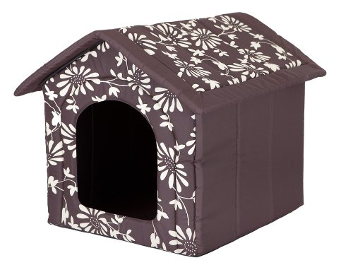 Hobbydog Dog House, Size 3, Brown with Flower