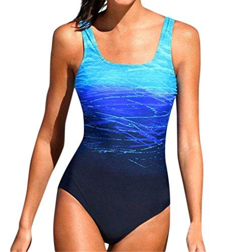 Jushye Hot Sale Swimwear,Swimming Costume Padded Swimsuit Monokini Bikini Sets (Blue, M) ()