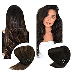 Sunny Brown Clip in Hair Extensions Human Hair 7pcs 120g Double Weft Clip in Hair Extensions Brown Silky Straight Hair…